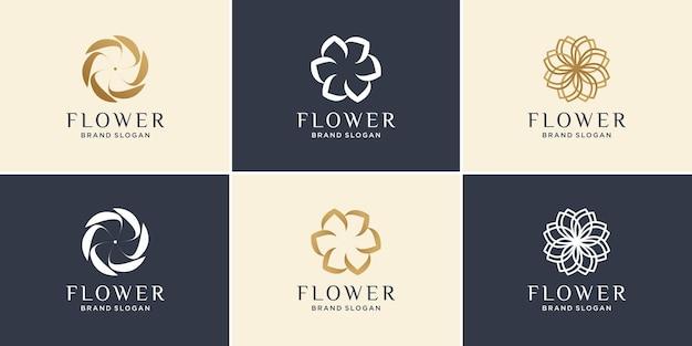 Blumenlogosammlung mit modernem minimalistischem abstraktem konzept premium-vektor