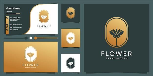 Blumenlogoschablone mit modernem einzigartigem stil und visitenkartendesign premium-vektor