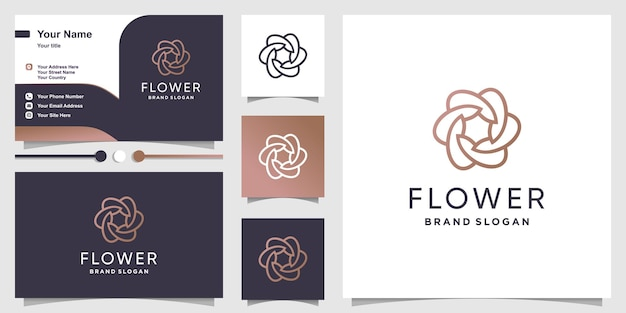 Blumenlogoschablone mit modernem minimalistischem linienkunststil premium-vektor