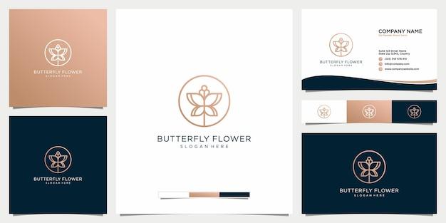 Blumenlogotyp der schönheitsblume mit visitenkarte