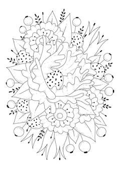 Blumenmalvorlage schwarzweiss-illustration zum färben der kunstlinie