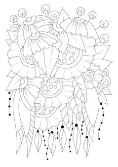 Blumenmalvorlage schwarzweiss-illustration zum färben