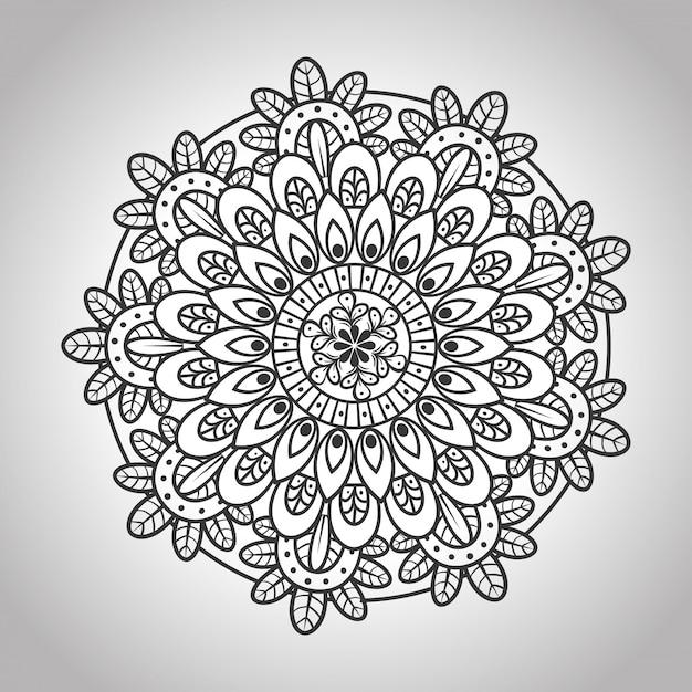 Blumenmandala im grauen hintergrund, weinlese-luxusmandala, zierdekoration