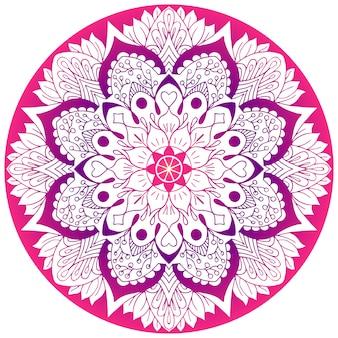 Blumenmandala in leuchtendem rosa. illustration.