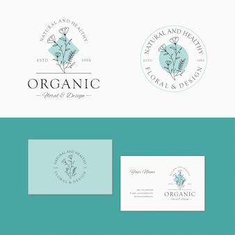 Blumenmarke. botanische logo-schablone elegant, hand gezeichnet, blatt.