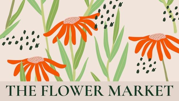 Blumenmarkt-vorlagenvektor für blog-banner