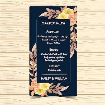 Blumenmenü-hochzeits-karte mit herbst-blumen und blättern