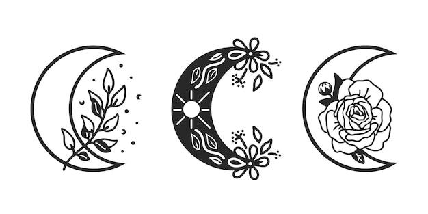 Blumenmonde gesetzt, halbmondmonde, himmlisch, illustration.