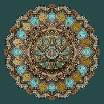 Blumenmotivmusterdesign in türkis und erdton