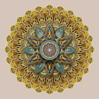 Blumenmotivmusterentwurf im erdton