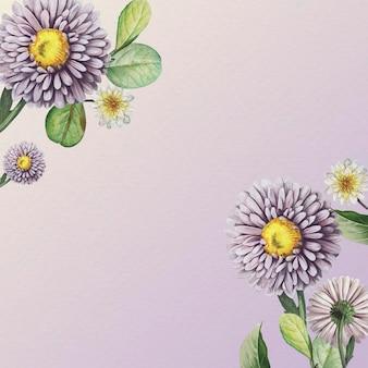 Blumenmuster auf lila hintergrundvektorschablone