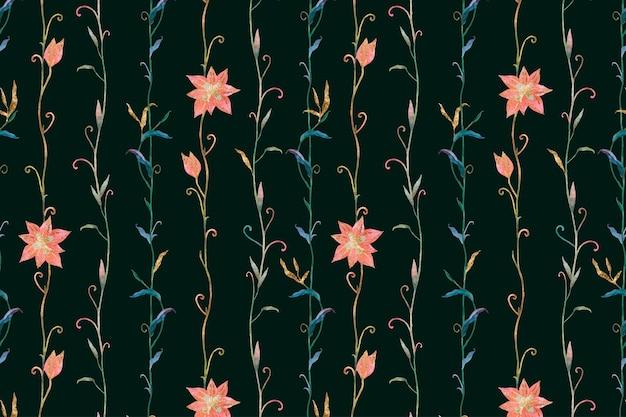 Blumenmuster auf schwarzem hintergrund