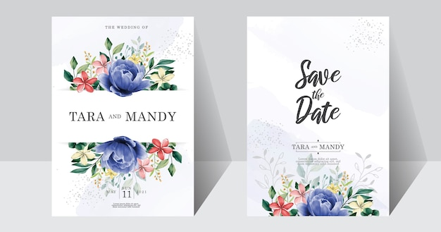 Blumenmuster der hochzeitseinladungskarte mit handzeichnung und blauer pfingstrosenblume