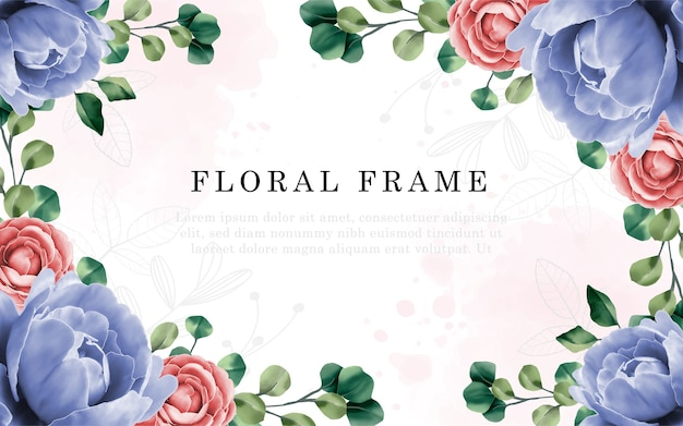 Blumenmuster der hochzeitseinladungskarte mit handzeichnung und pfingstrosenblume