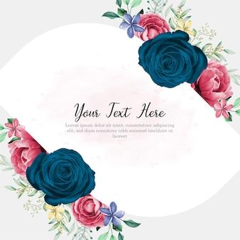Blumenmuster der hochzeitseinladungskarte mit handzeichnung