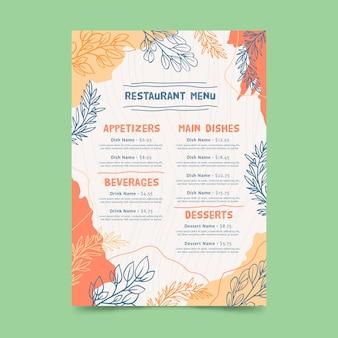 Blumenmuster des digitalen restaurantmenüs
