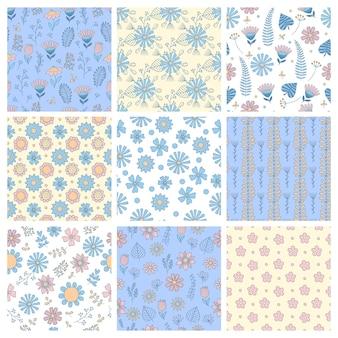 Blumenmuster. geometrische einfache formen botanische formen blumen blätter zweige natur vektor nahtlose hintergrund. botanisches blumenmuster, blumenblüte natürlich, laubblattillustration
