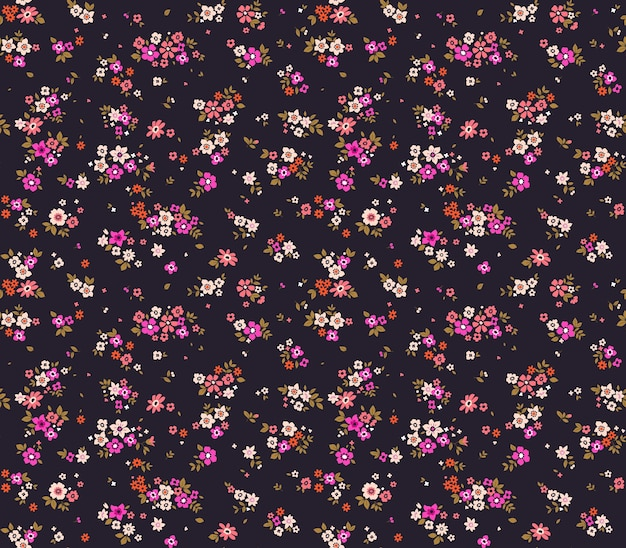 Blumenmuster hübsche blumen violetter hintergrund druck mit kleinen rosa blumen ditsy druck