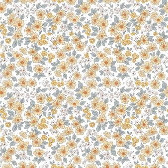 Blumenmuster hübsche blumen weißer hintergrund druck mit kleinen gelben blumen ditsy druck