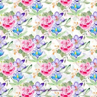 Blumenmuster im aquarell-stil