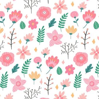 Blumenmuster in der gekritzelart mit blumen und blättern. sanft, frühlingsblumig.