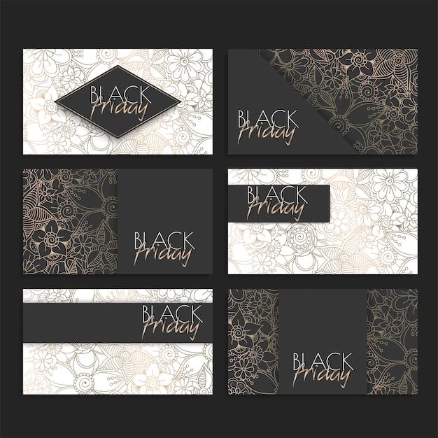 Blumenmuster-kartensatz für schwarzen freitag-verkauf, vektorillustration