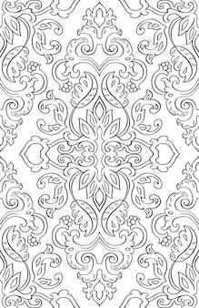 Blumenmuster mit damast. nahtlose filigrane verzierung. schwarz-weiß-vorlage für tapeten, textilien, teppiche.