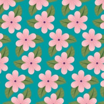 Blumenmuster mit natürlichen blumenblättern und blattmuster