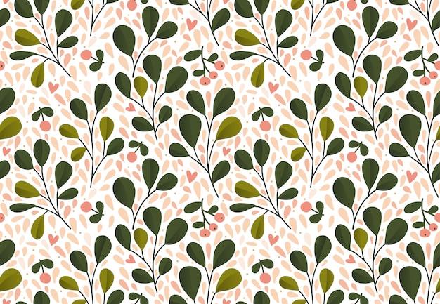 Blumenmuster. nahtlose vektorbeschaffenheit mit blumen für modedrucke oder tapeten. grüne blätter. hand gezeichneter stil