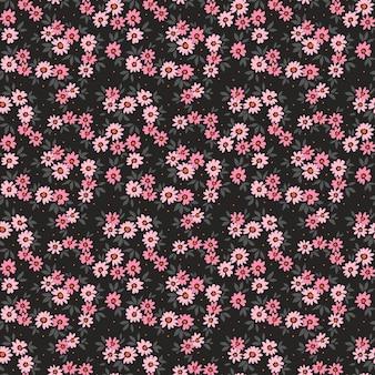 Blumenmuster süße blumen schwarzer hintergrund design mit kleinen nadelblumen ditsy-druck Premium Vektoren