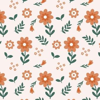 Blumenmusterdesign in pfirsichfarben