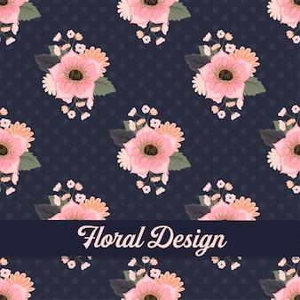Blumenmusterdesign mit beeren