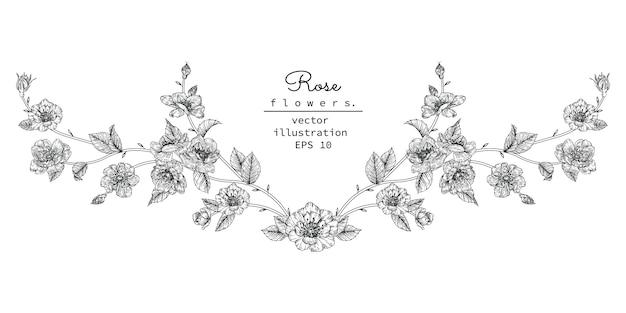 Blumenmusterelement für kopfzeile