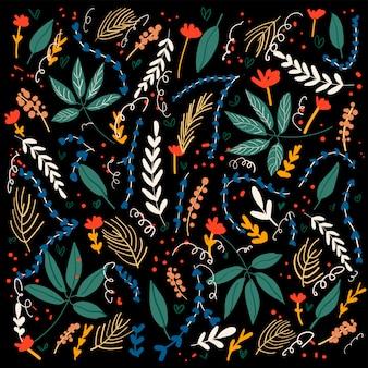 Blumenmusterhintergrund auf schwarzem