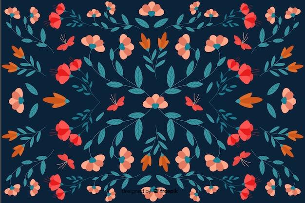 Blumenmusterhintergrund des flachen designs
