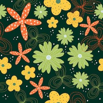 Blumenmusterhintergrund des nahtlosen bunten frühlinges