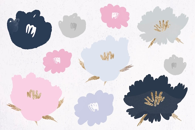 Blumenmusterhintergrund handgezeichnet