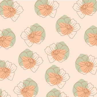 Blumenmusterhintergrund mit blumen und organischen formen. Premium Vektoren