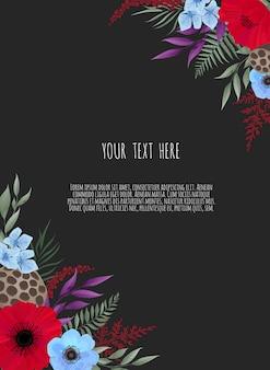 Blumenmusterkarte. gruß, postkartenhochzeitseinladungsschablone. eleganter rahmen mit rose und anemone