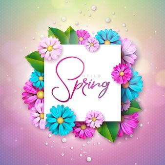 Blumenmustervorlage mit typografie-brief