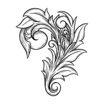 Blumenornament barock für rahmen und ecke.