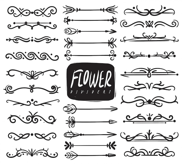Blumenornamentteiler. zierteiler und skizze blätter ornamente, dekorative pfeile, gezeichnete weinränder. sammlung