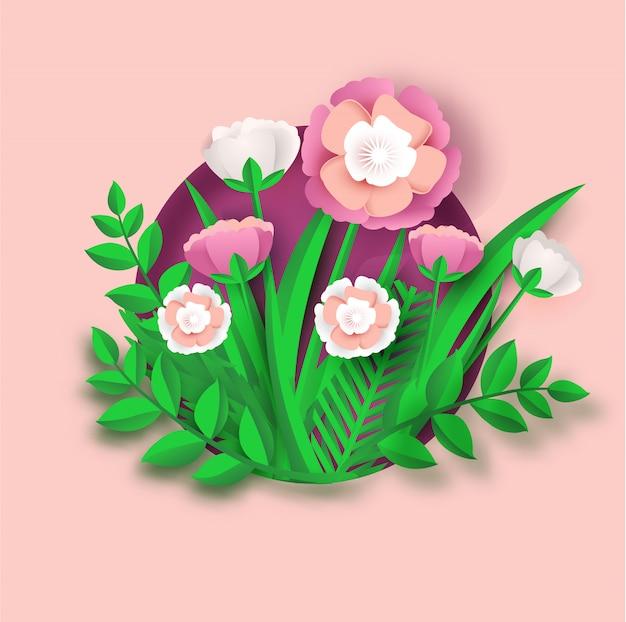 Blumenpapierkunst für hochzeitskarte und -fahne