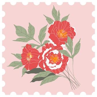 Blumenpostmarke. rosa und roter pfingstrosenstrauß auf einem rosa hintergrund. handgezeichnete grußkarte im stil einer postmarke. moderne illustration für web und druck.