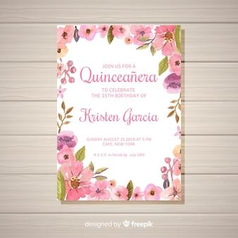 Blumenquinceañera party einladung