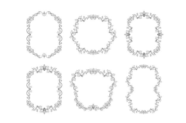 Blumenränder stellen sie für bild oder italienische verzierung ein