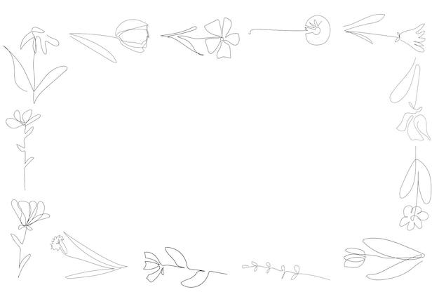 Blumenrahmen auf dem weißen hintergrund eine durchgehende linie schwarzer umriss kunstblumenvektor