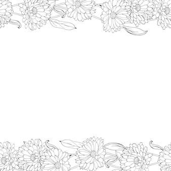 Blumenrahmen aus umrissblumen der ringelblume.