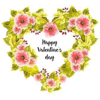 Blumenrahmen. blumenherz und beschriftung des glücklichen valentinstags. vektor-illustration