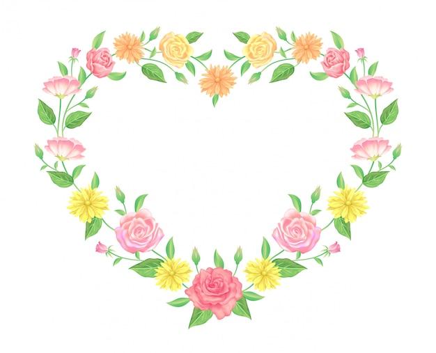 Blumenrahmen bunte und schöne rosafarbene blumen- und blattschablonendekoration.